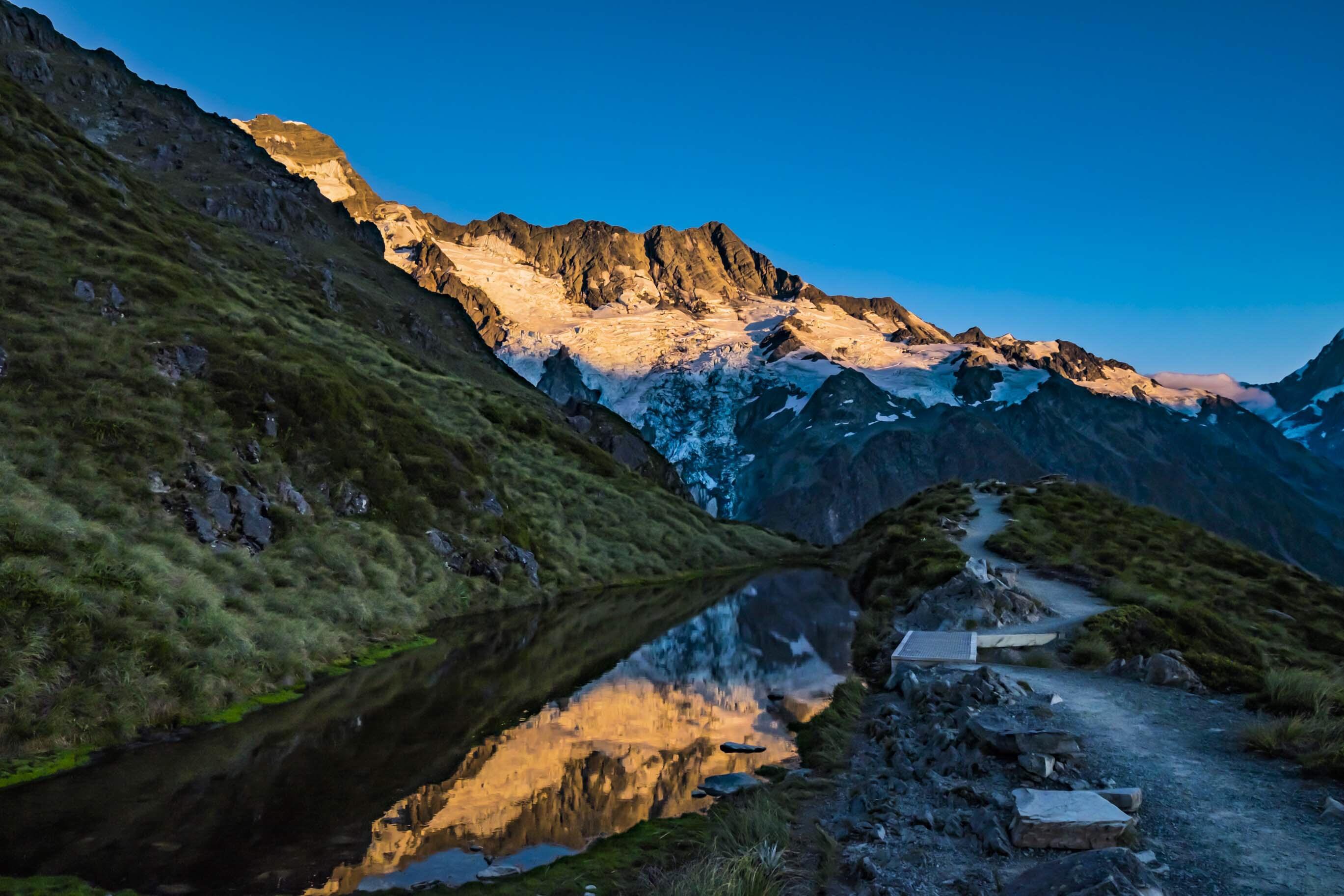 sunrise seen on glacier